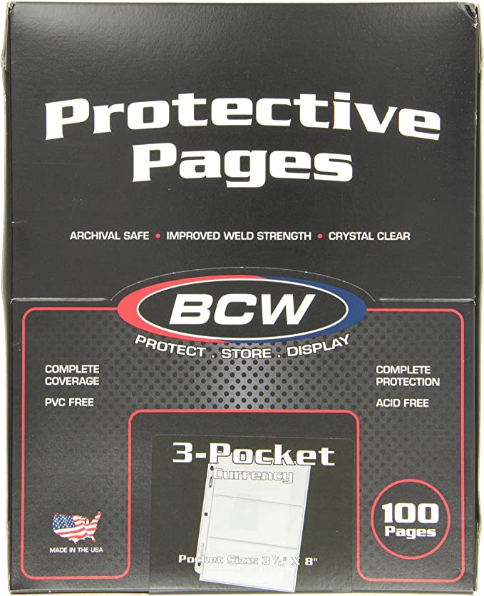 Lot of 5 BCW Archival Pages 1 Pocket For 3 Rings Binder Album NO PVC Clear Sheet