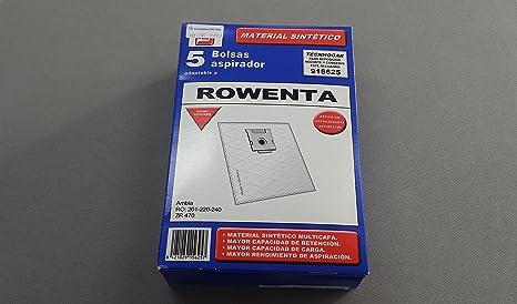 RECAMBIOS DREYMA Bolsas Tela SINTÉTICA Aspirador ROWENTA AMBIA RO201, RO220, RO240, ZR470. TAMAÑO Grande 5 Unidades: Amazon.es: Hogar