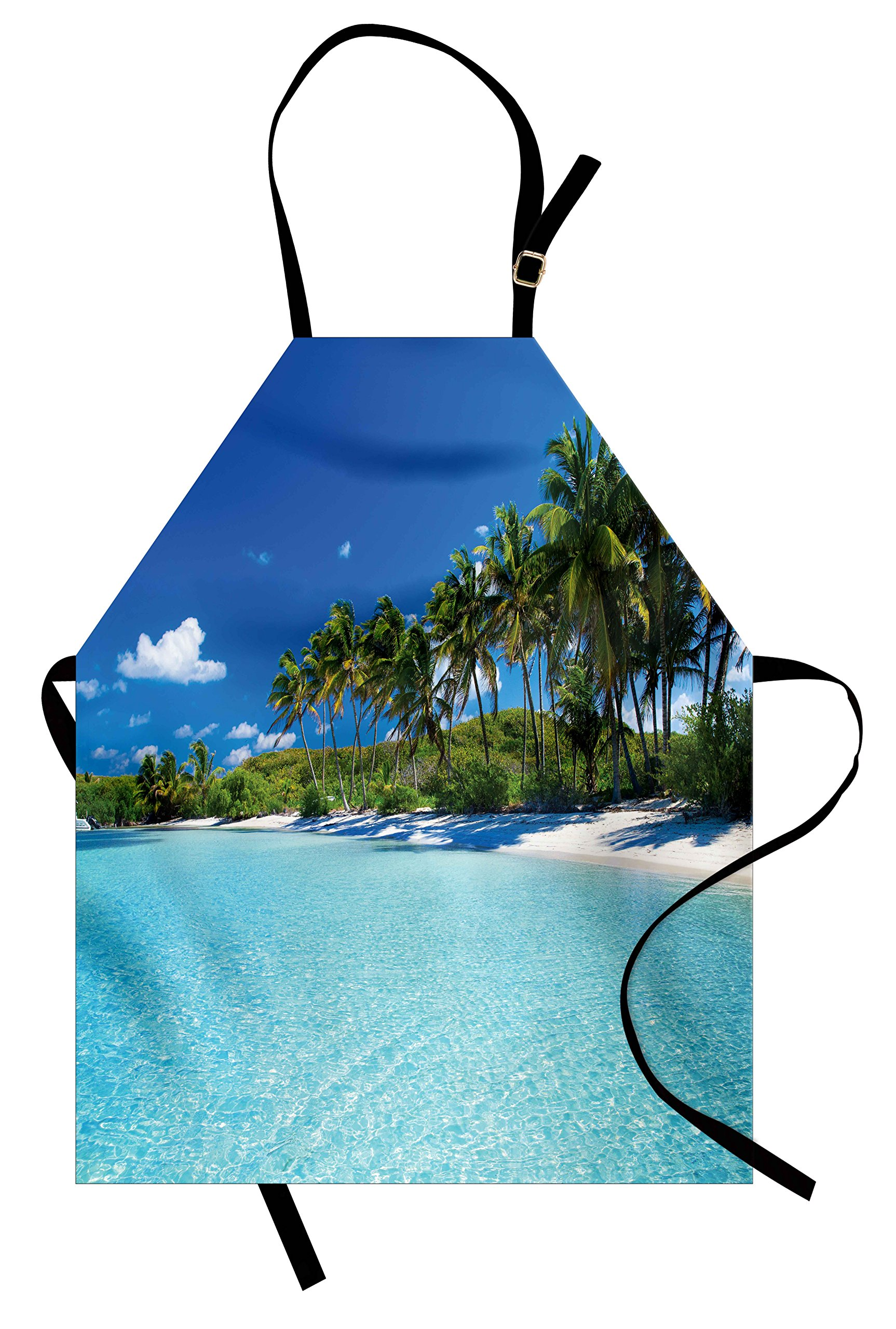 Ambesonne Ocean Apron, Relaxing Beach Resort Spa Palm Trees and Sea Exotic Caribbean Coastline, Unisex Kitchen Bib Apron with Adjustable Neck for Cooking Baking Gardening, Turquoise Blue Green
