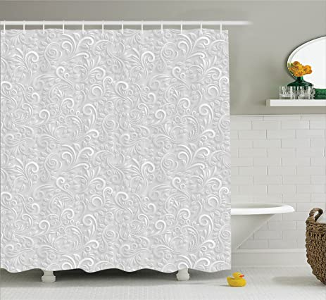 Grey Decor Shower Curtain Set By Ambesonne Classic Floral Swirling And Curving Victorian Style Pattern
