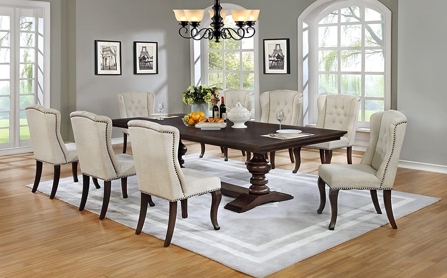 Best Quality Furniture D35Set Beige Linen Look Upholstered Cappuccino  Dining (9 Piece Set)