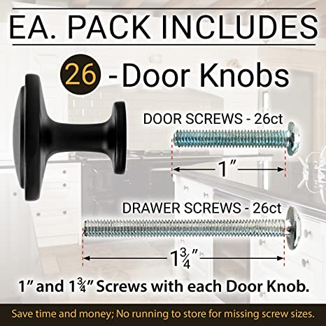 26 Beautiful Cabinet knobs Flat Black (26) Pack - Round Solid Metal knobs -  Free Hardware Screws for Doors and Drawers - 1-1/4