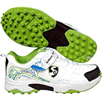 SG Rubber White/Lime Dual Closure, Laces and Velcro Strap Spikes Cricket Shoes -9 UK/43 EU