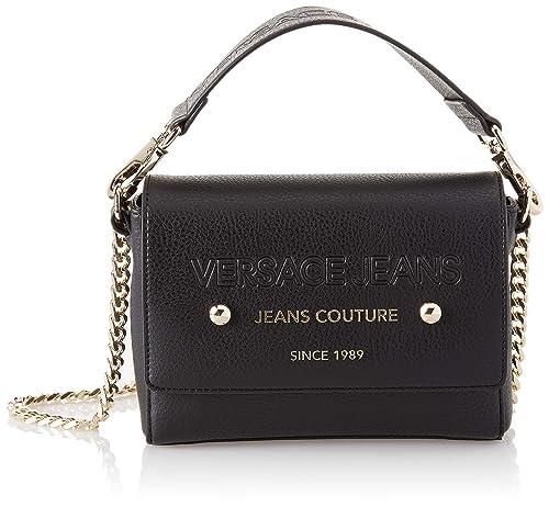 Versace Jeans - Ee1vsbbsa, Carteras de mano Mujer, Negro (Nero), 6x16x20