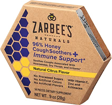 96% Honey Cough Soothers & Immune – Natural Citrus, 14 pieces