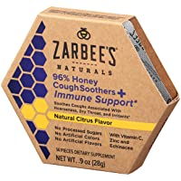 Zarbee's Naturals 96% Honey Cough Soothers + Immune Support*, Natural Citrus Flavor...