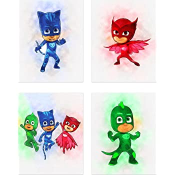 PJ Masks Watercolor Wall Art - Set of 4 (8x10) Poster Prints - Catboy - Owlette - Gekko
