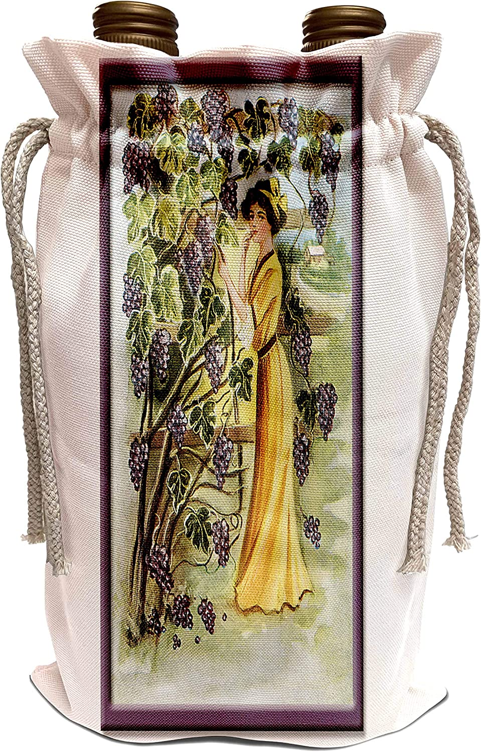 3dRose BLN Vintage Food and Drink Labels and Posters - Vintage Victorian Woman in a Vineyard of Purple Grapes - Wine Bag (wbg_149266_1)