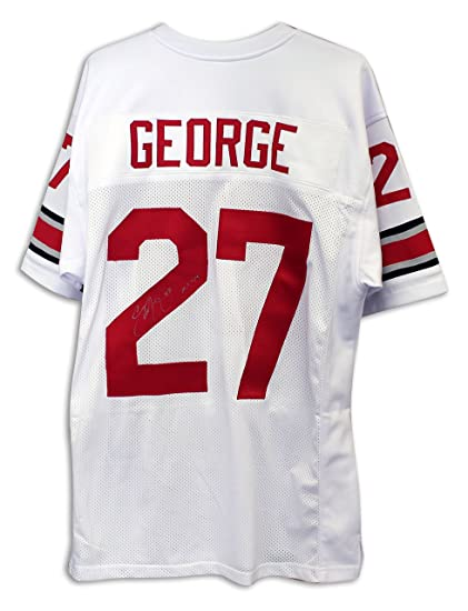 finest selection c5dd8 c344c Eddie George Ohio State Buckeyes Autographed White Throwback ...