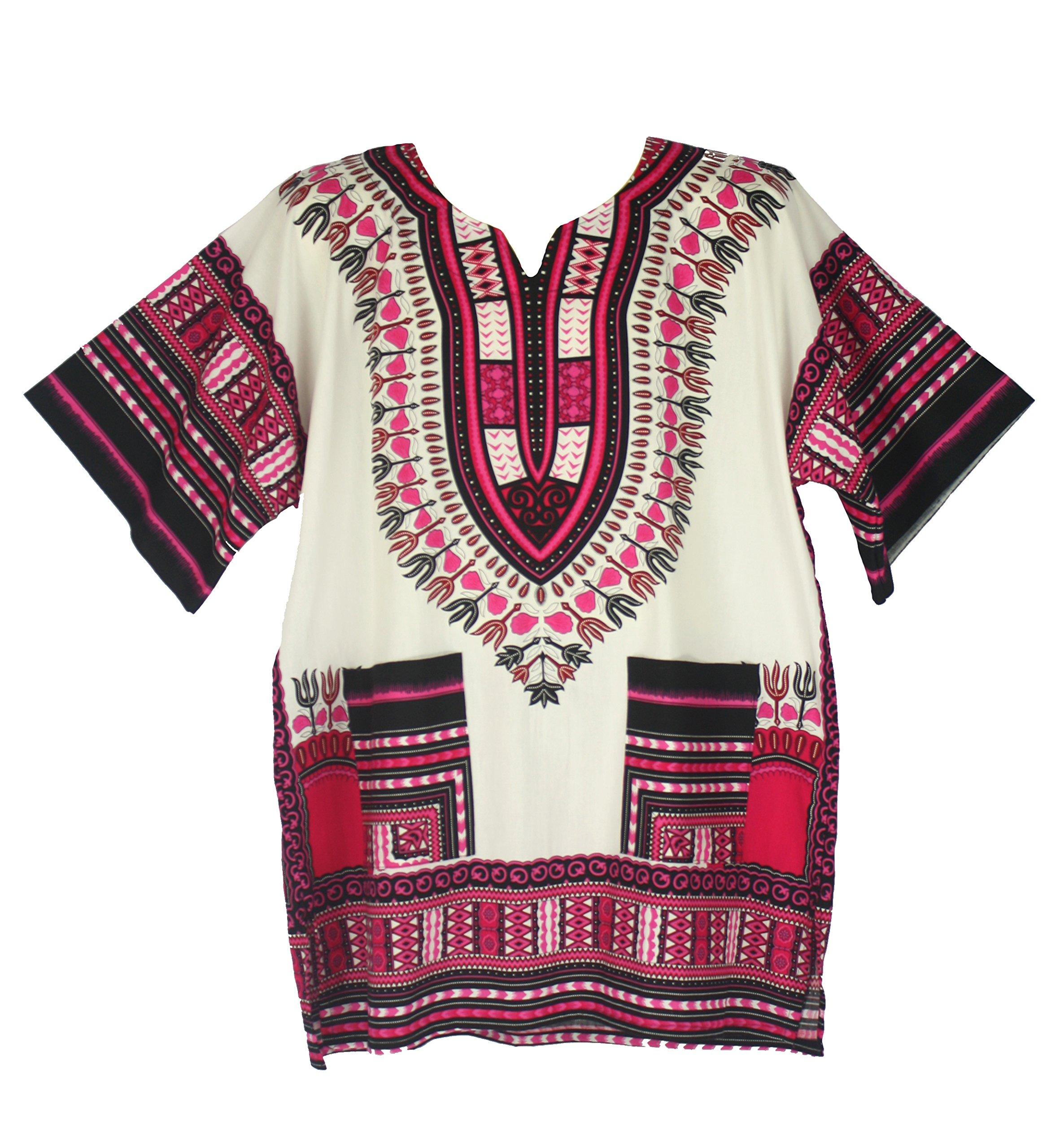 Vipada Handmade's Traditional Dashiki Shirt for men and women White and Pink 4XL