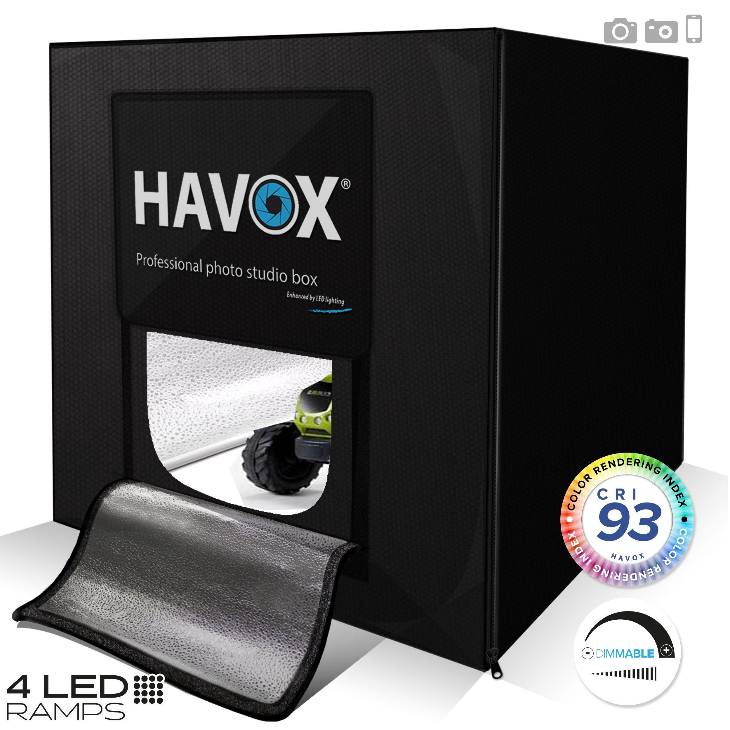 HAVOX - Photo Studio HPB-80XD - Dimension 32'x32'x32' - Dimmable LED Lighting ''Daylight'' 5500k - 26,000 lumens - CRI 93 - Make your commercial photos e-commerce by HAVOX