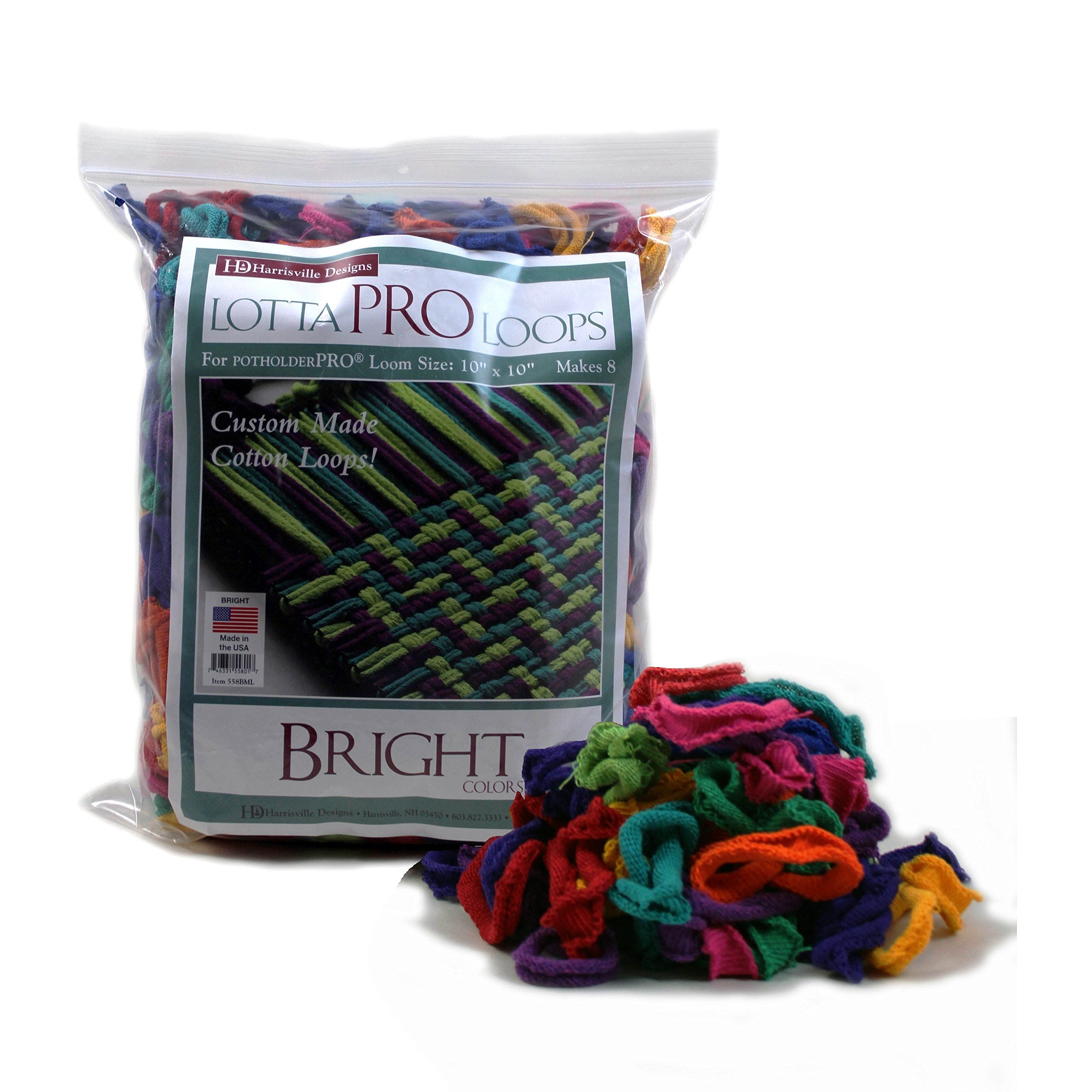 Harrisville 10'' Pro Bright Lotta Loops in Assorted Colors - Makes 8 Potholders by Harrisville Designs