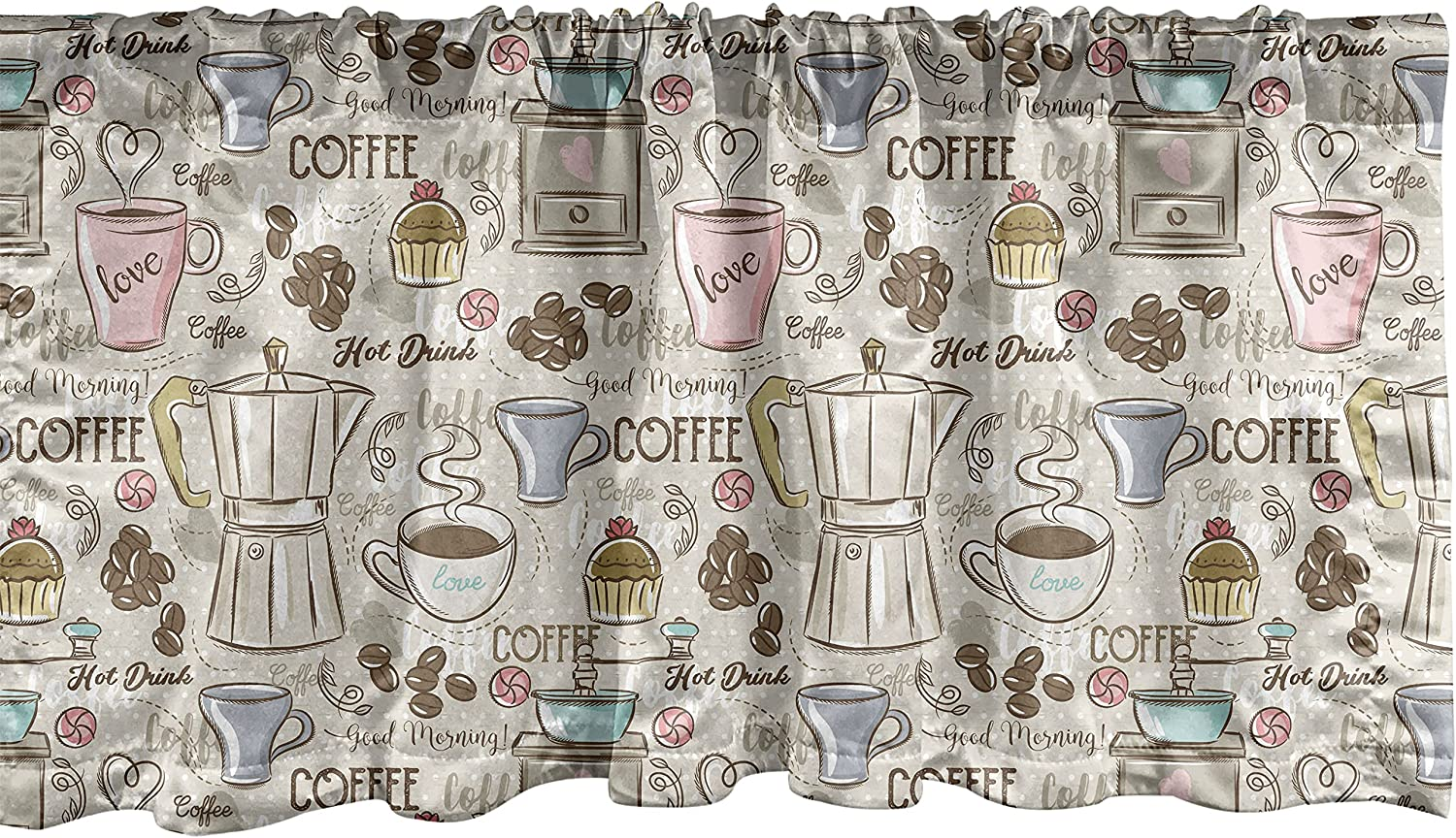 Ambesonne Modern Window Valance, Coffee Time Vintage Espresso Machine Cupcakes Beans Design, Curtain Valance for Kitchen Bedroom Decor with Rod Pocket, 54
