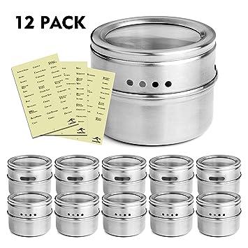 KANGORA Magnetic Spice Tins (12 Piece Set) Store Herbs, Salt, Pepper