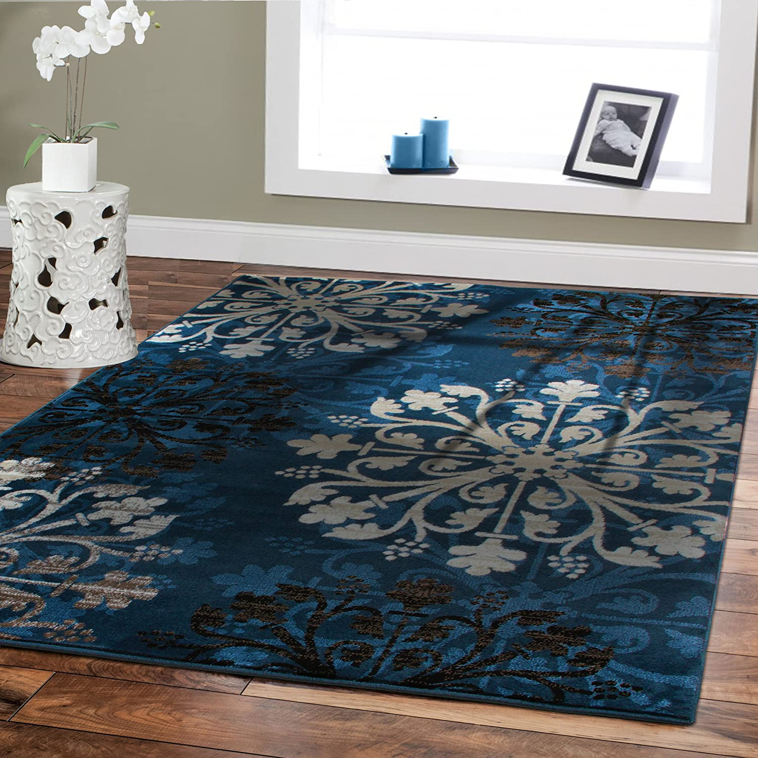 Amazoncom Premium Large 8x11 Luxury Modern Rugs For Dining Rooms Blue Beige Brown CreamFloral Rug Soft Bedrooms And Room Carpet 8 By 10