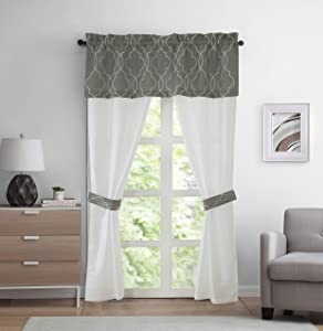 Regal Home Collections 5PC Complete Window Set, Averie Faux Silk Curtain Panel Pairs with Attached Embroidered Valance Plus Matching Tie-Backs (Silver/White)