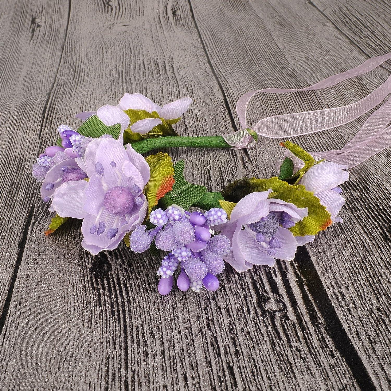 HanLuckyStars Romantica Diadema Corona Flores para Cabello Garland Halo Accesorios para el cabello Elegante Decoradas con Flores de la Venda de Muñeca ...