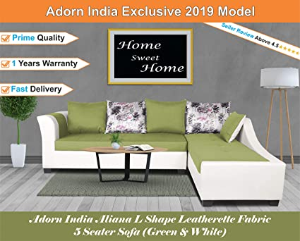 Awe Inspiring Adorn India Aliana L Shape Leatherette Fabric 5 Seater Sofa Green White Machost Co Dining Chair Design Ideas Machostcouk