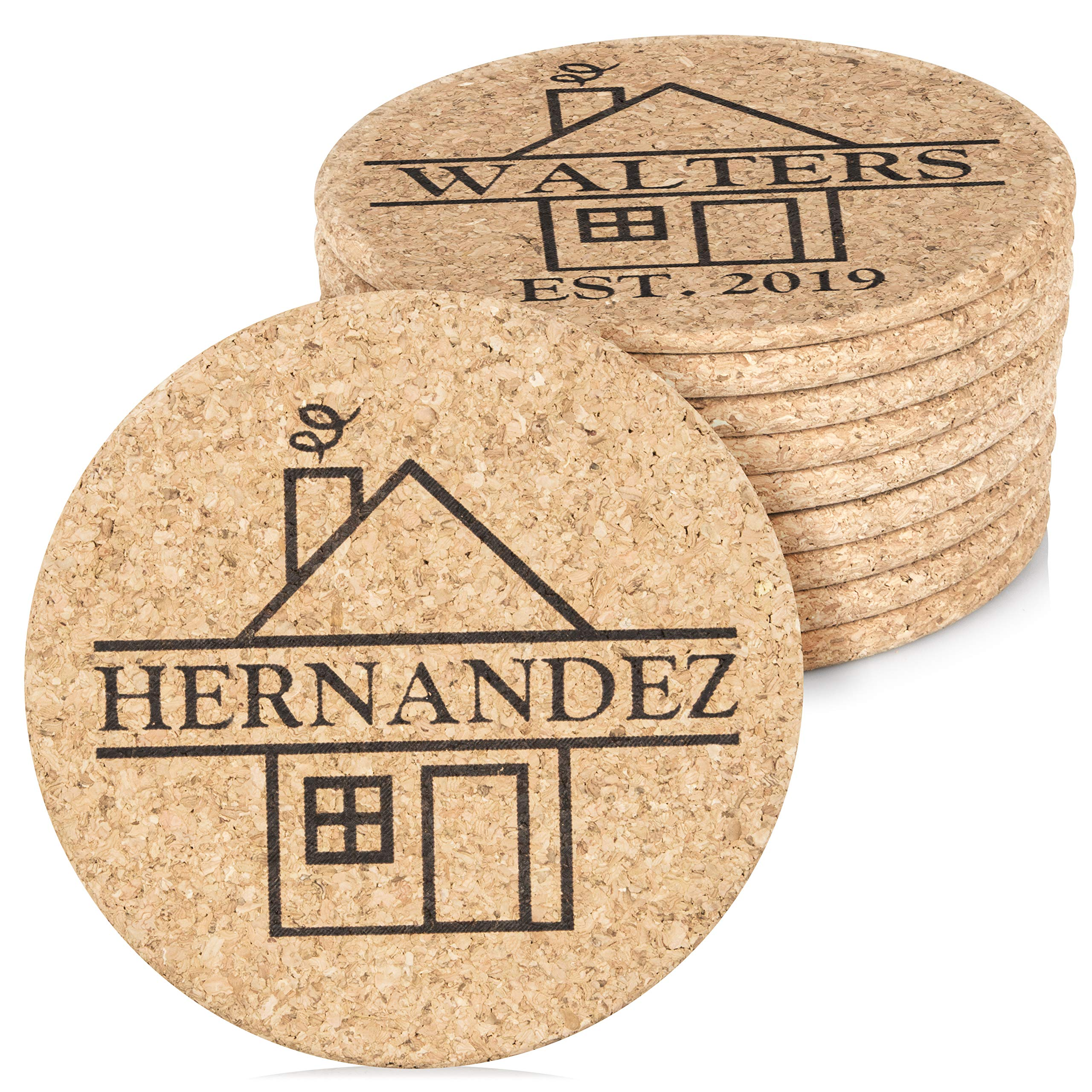 Personalized Cork Trivet Custom Gift - (2) 7'' Hot Pads - Customizable Housewarming Trivets with Home Design for Hot Dishes, Pots, Pans, Baking Sheets, Hot Plates for Table, Countertop, Kitchen by Custom Catch