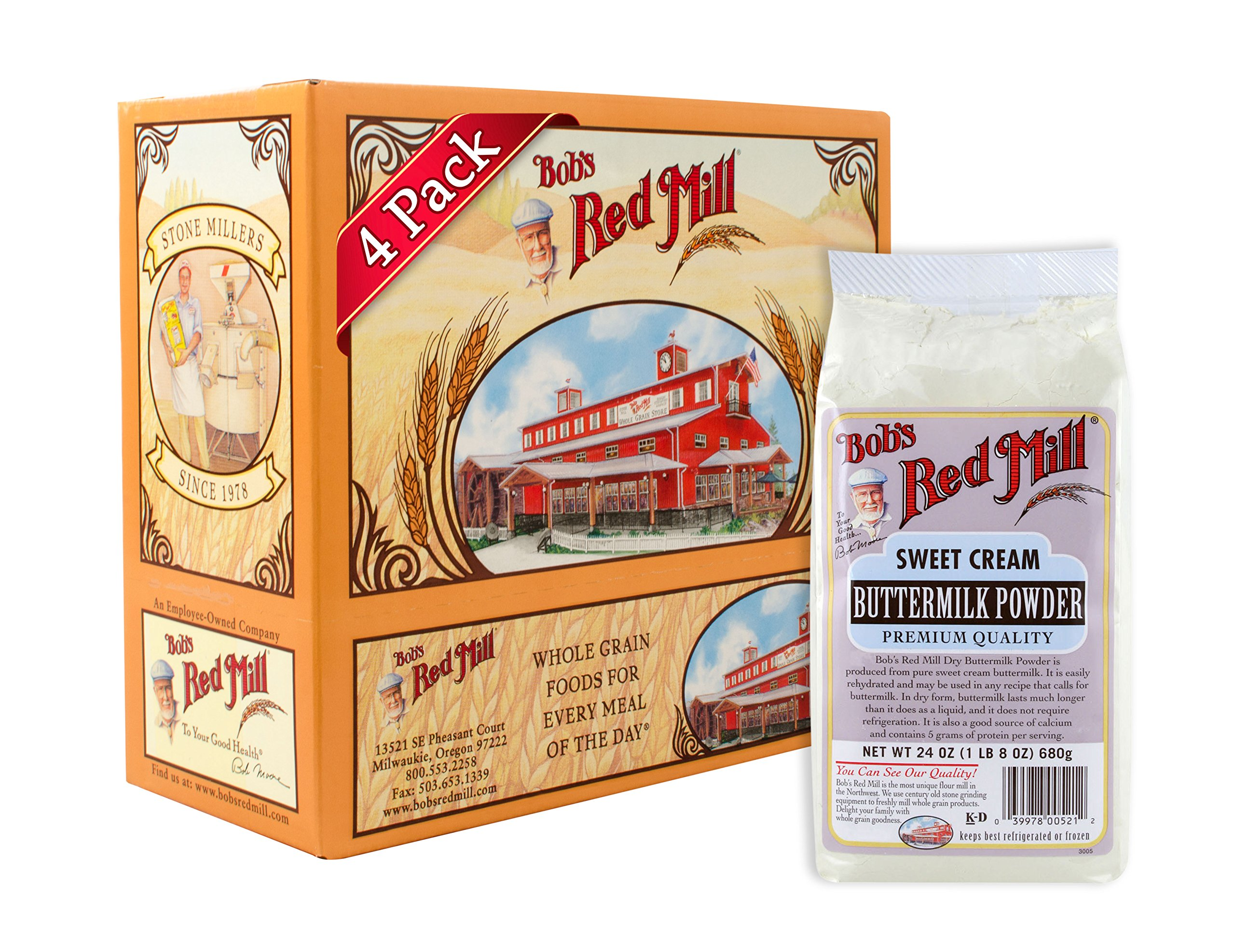 Bob's Red Mill Milk Powder Buttermilk, 24 Ounce Packages (Pack of 4) by Bob's Red Mill (Image #1)