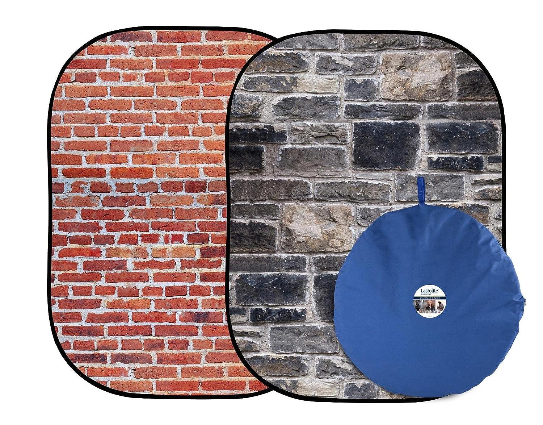 Lastolite バックグラウンド アーバン背景 1.5x2.1m 赤レンガ/グレー石壁 折り畳み式 LL LB5711  赤レンガ/グレー石壁 B00BD4CXE8