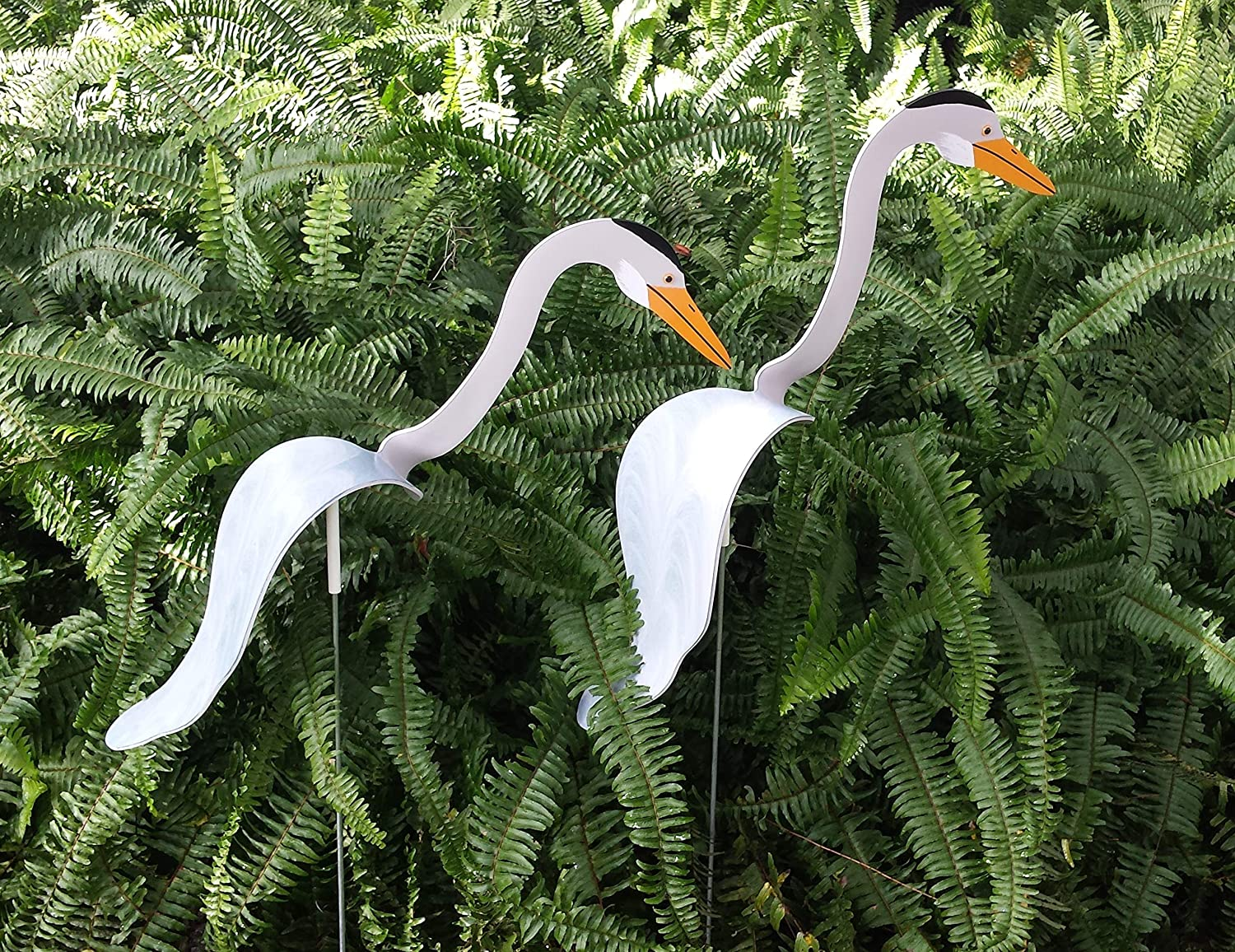 2 Large HERONS Bobbing Bird Dancing Balancing Kinetic Whirligig Wind Spinner Garden Art Decor PVC Birds Yard Flamingo Swirling Birds