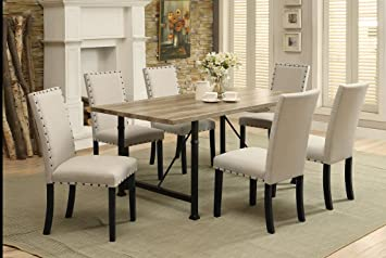 ACME Furniture Oldlake Dining Table, Antique Light Oak & Black