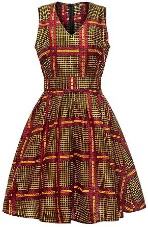 957e684dbbb0 Shenbolen Women African Ankara Batik Print Traditional Clothing Casual  Party Dress (Small,D)