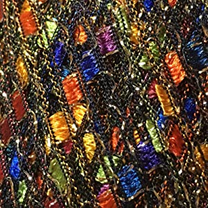 Fiesta Glitz Ladder Ribbon Yarn Dark Horse Beautiful #A109 Blue Green Pink Orange Gold + Metallic Ladder