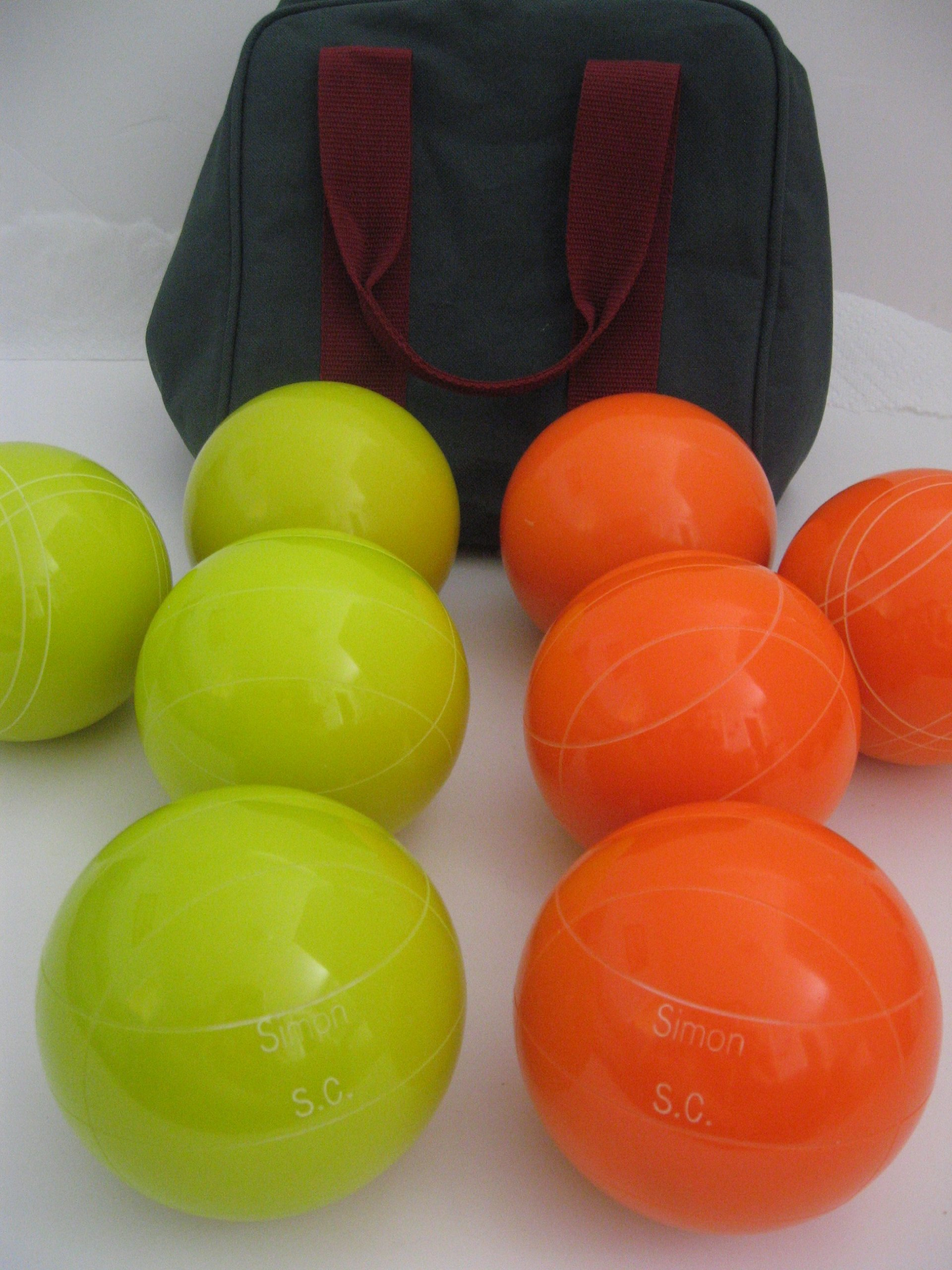 Premium Quality Engraved Bocce Package - 110mm Epco Yello and Orange Balls with Engraving