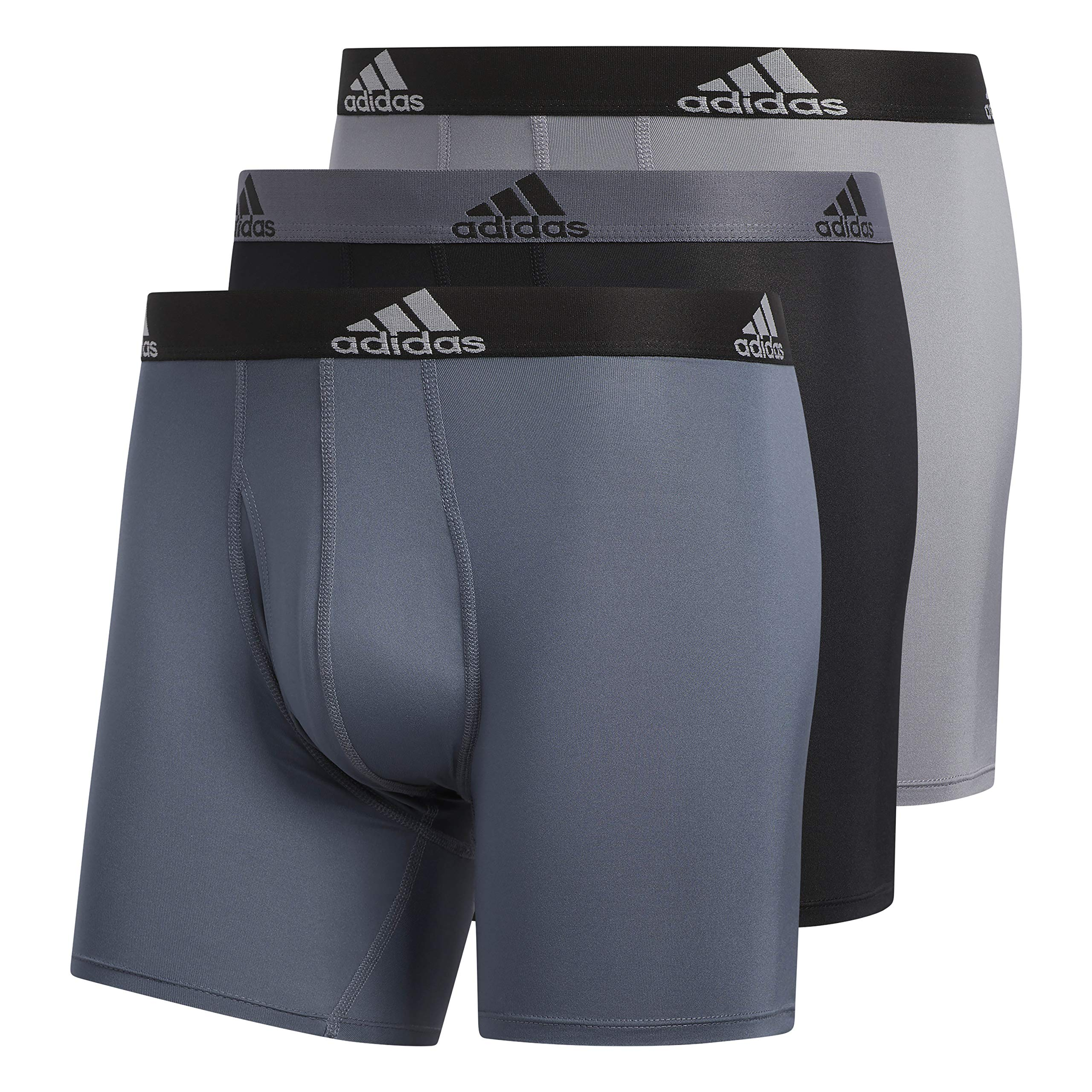 adidas Men's Sport Performance Climalite Boxer Briefs (3 Pack), Onix Grey/Black, Large by adidas