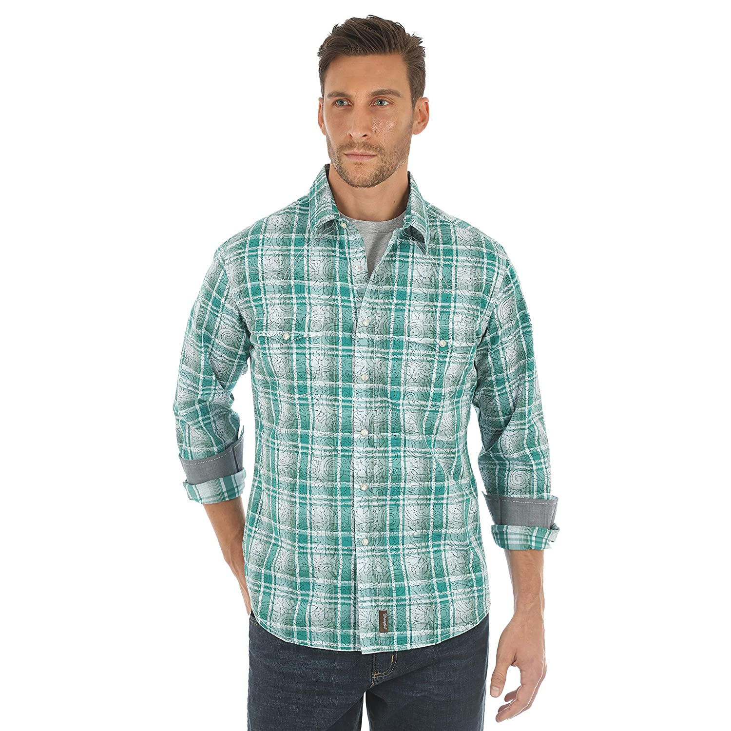 Wrangler Mens Retro Two Pocket Long Sleeve Snap Shirt
