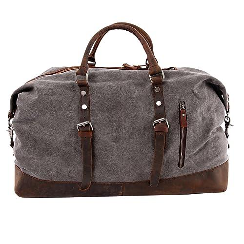 Amazon.com  WindFeel Canvas Leather Trim Travel Tote Duffel Shoulder  Handbag Weekend Bag -Large Size High Capacity-for Men (Dark Grey)  Shoes 378b0657b11ed