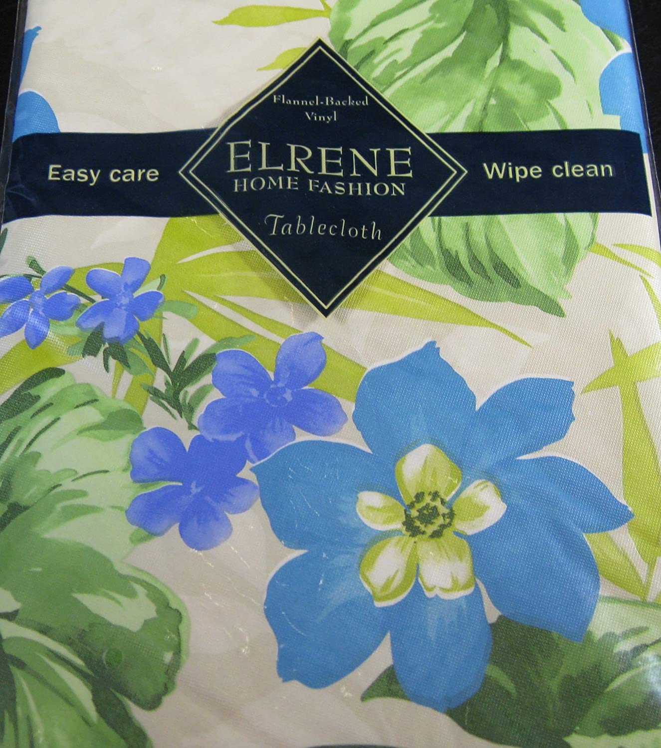 Amazon.com: Flannel Backed Vinyl Tablecloths By Elrene  Tropical Blue  Flowers Assorted Sizes   Square,Oblong U0026 Round (52 X 90 Oblong): Home U0026  Kitchen