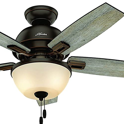 Hunter Fan 44 inch Ceiling Fan in Onyx Bengal with LED Bowl Light Kit Renewed Onyx Bengal