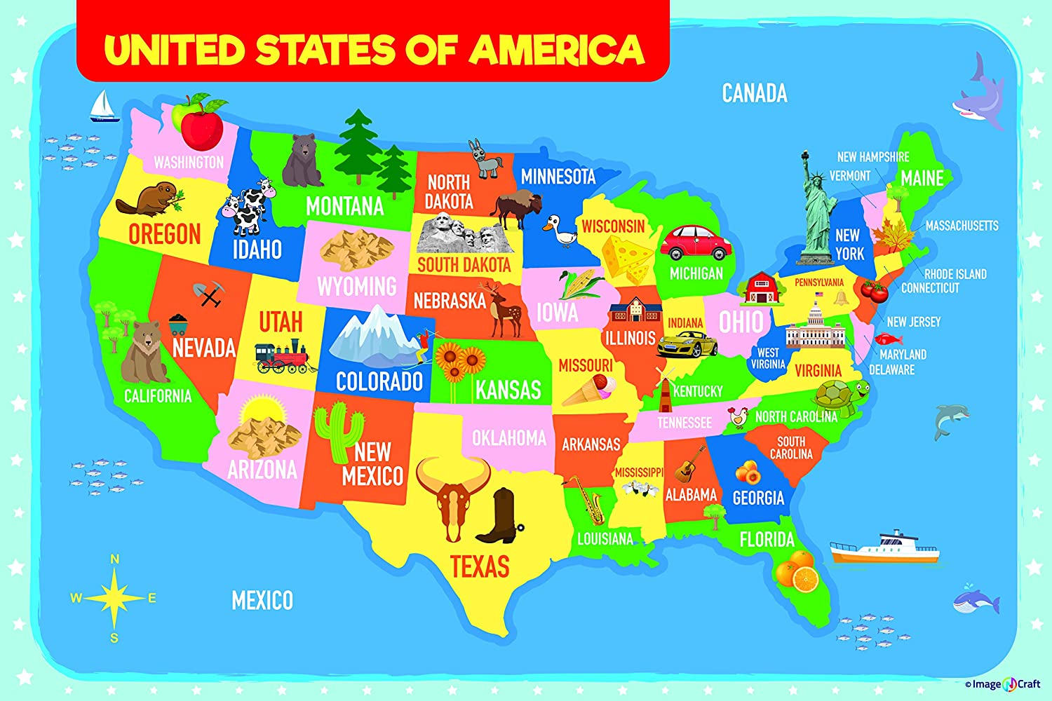 Map Of Canada For Students.Usa Map Poster For Kids 24 X 36 Inch By Imagencraft With Colorful Design And Images Perfect For Kids Students Parents Teachers And More 24x36