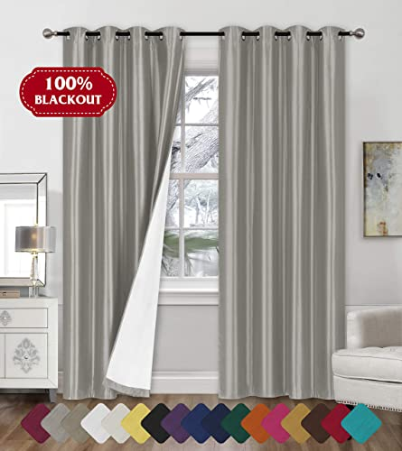 Faux Silk Blackout Curtains – 2-Panel Sets of 54×84 Room Darkening Black Out Curtains for Bedroom – Durable Thermal Insulated, Sun and Sound Blocking Dark Window Curtain – FS3, 84 , Silver