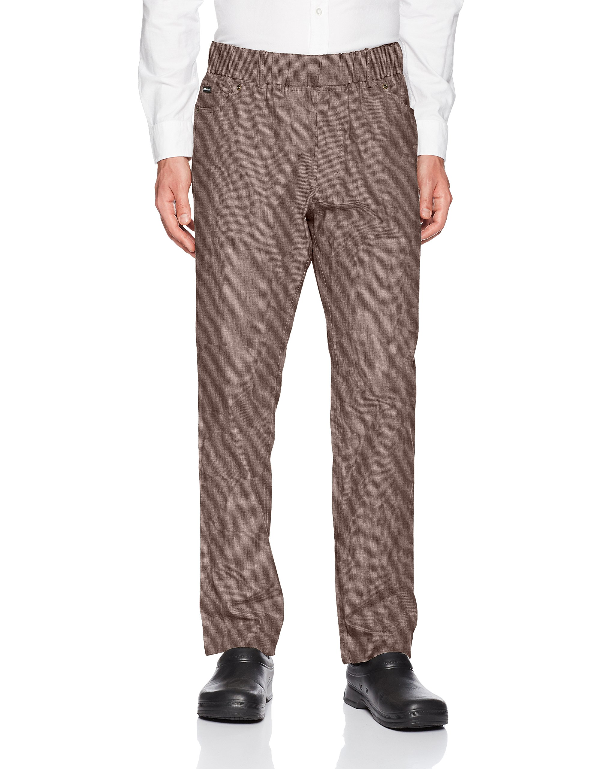 Chef Works Men's Vertical Stripe Pant, Earth Brown, Medium