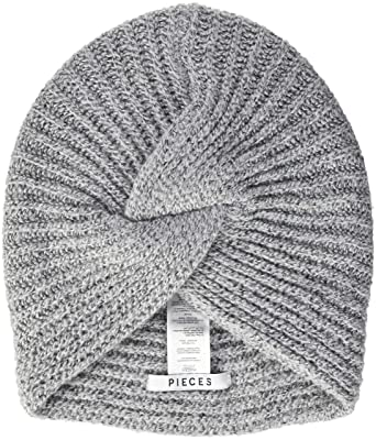 c02c42f09168f4 PIECES Damen Strickmütze PCFURBI Turban Hood, Grau (Light Grey Melange AOP:  Solid), One Size: Amazon.de: Bekleidung
