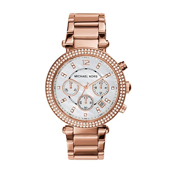 959437e98b0d Image Unavailable. Image not available for. Colour  Michael Kors Women s  Parker MK5491 Rose Gold Stainless-Steel ...
