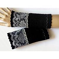 Armstulpen//Pulsw/ärmer Charm Designer-Perle Walkwolle Walk, Walkstoff breites Spitzenband in Dunkelblau; Zackenlitz in dunklem K/önigsblau