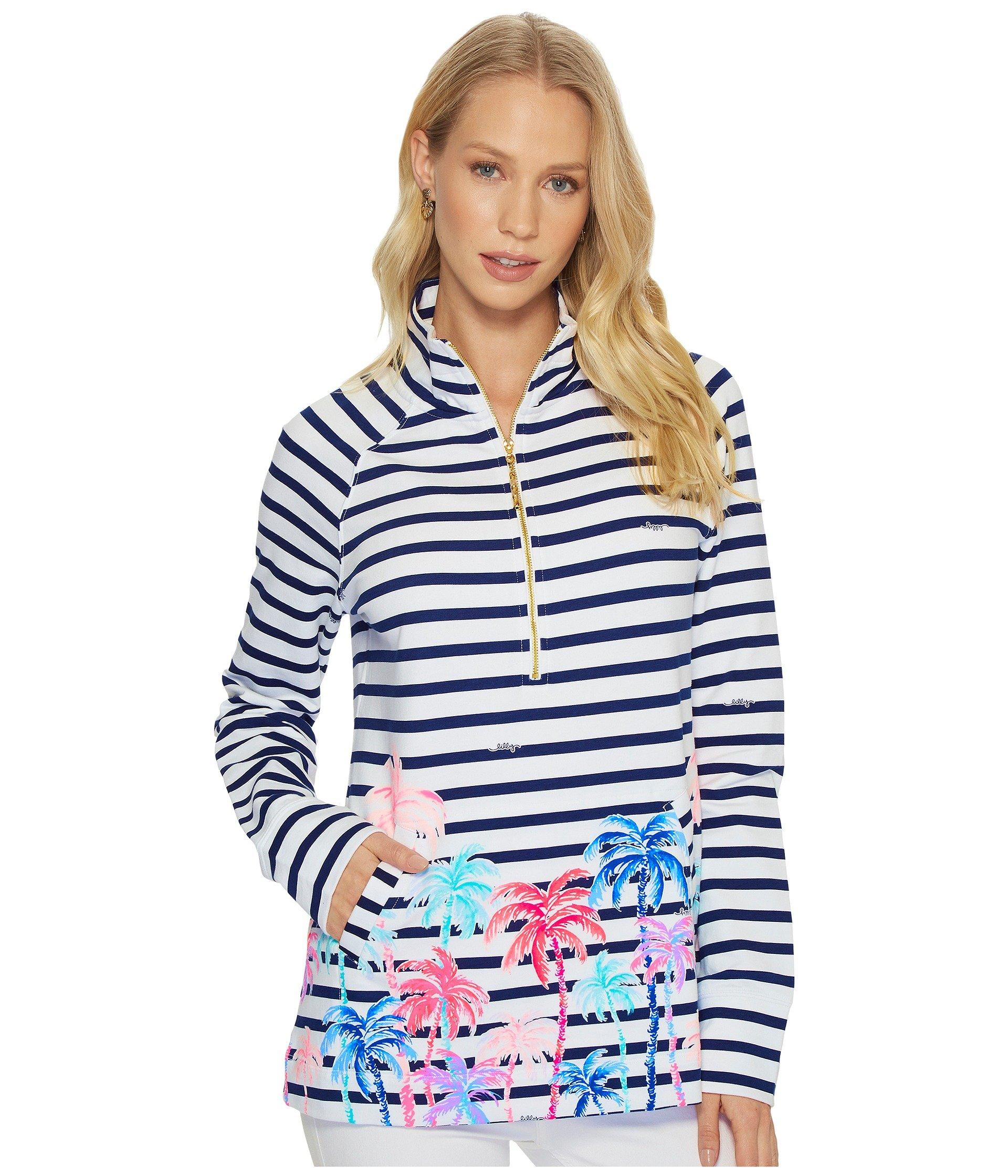 Lilly Pulitzer Women's Upf 50+ Skipper Popover, Resort White Desert Palm Stripe Engineered Skipper, L