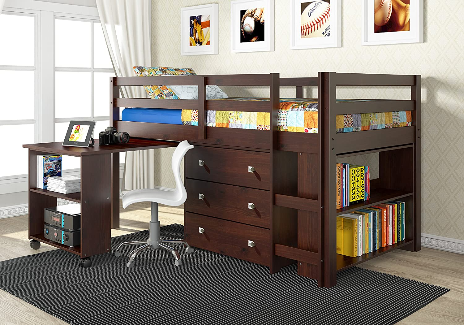 Amazon Com Donco Kids 760 Cp Low Study Loft Bed Dark Cappuccino