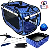 Pet Fit for Life Extra Large Collapsible/Portable Cat Cage/Condo with Portable Litter Box and Bonus Cat Feather Toy and Collapsible Water/Food Bowl Large - 32 x 19 x 19