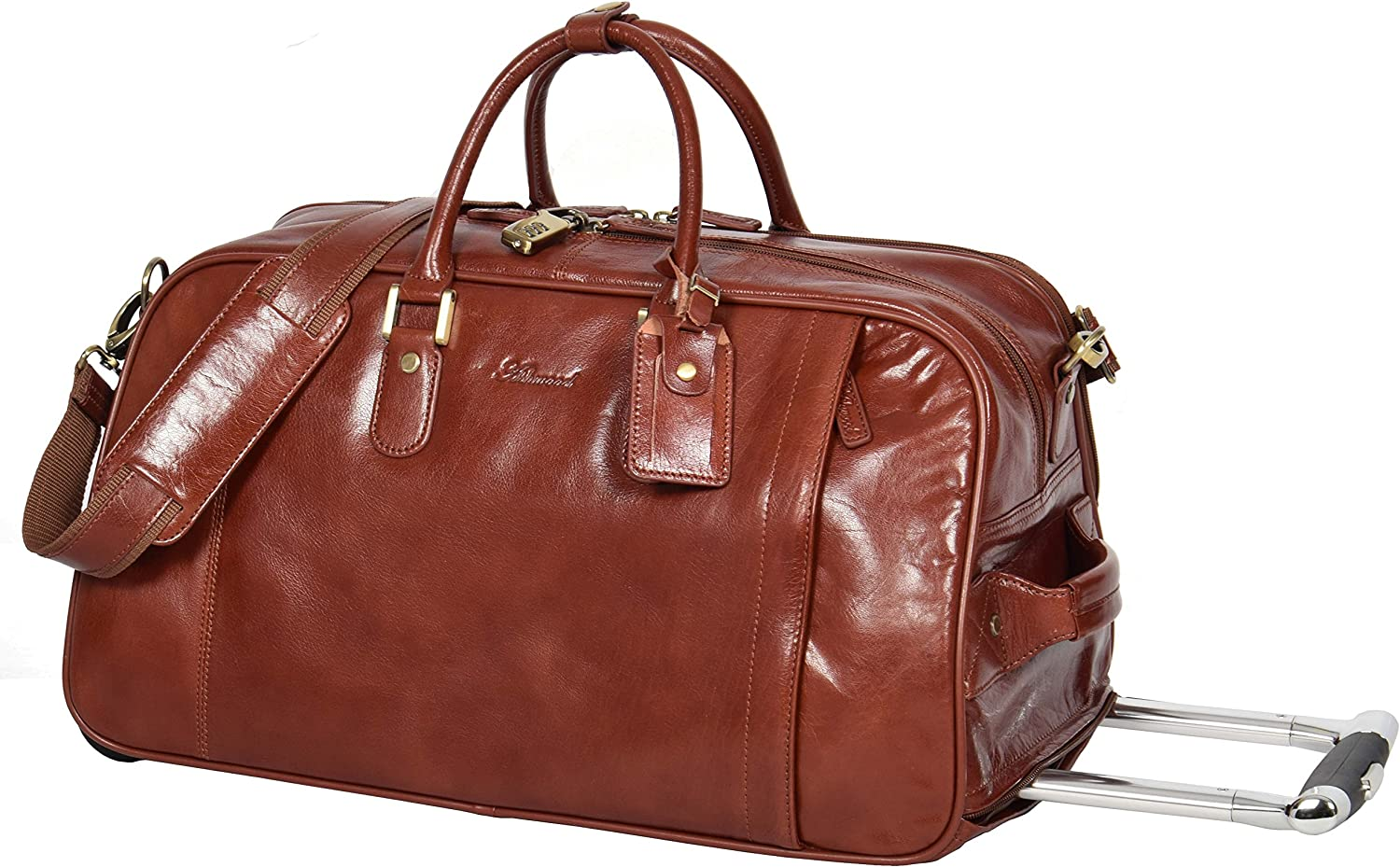 REAL LEATHER Wheeled Holdall Telescopic Handle Weekend Cabin Travel Trolley Bag Mexico Cognac