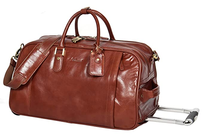 4aa166d95 Genuine TAN Leather Wheeled Holdall Duffle Gym Cabin Travel Luggage Weekend  Bag Pete  Amazon.co.uk  Clothing
