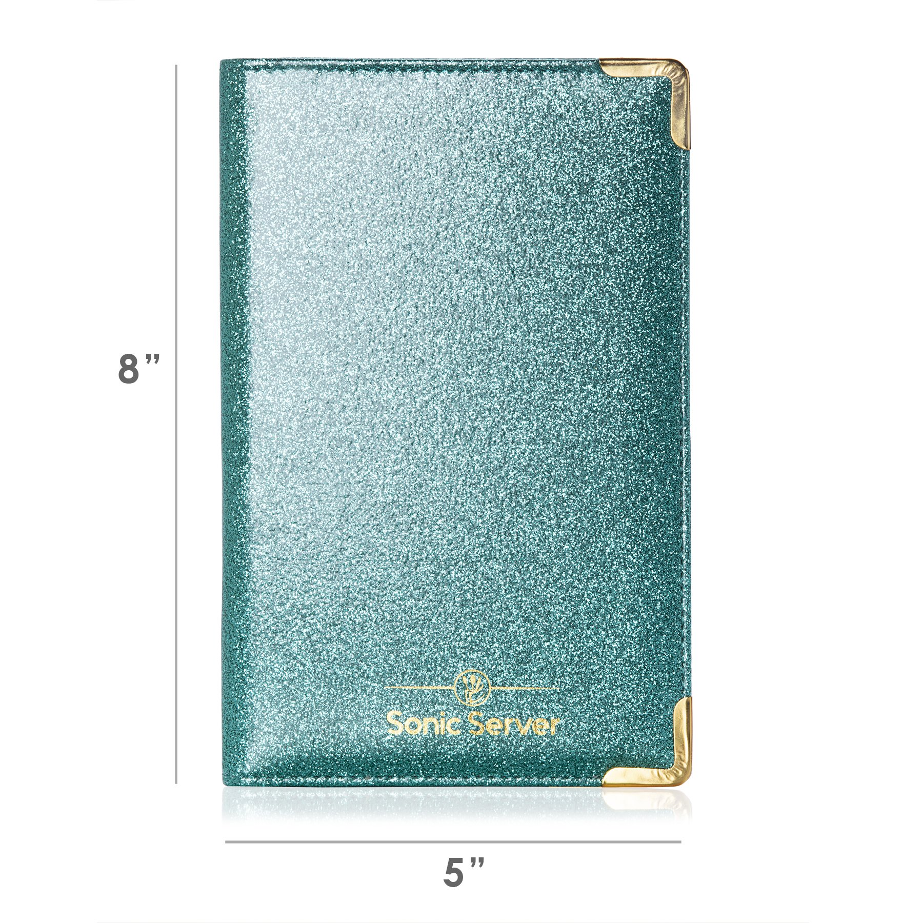 Sonic Server Dazzling Glitter Server Book and Waiter Waitress Organizer for Waitstaff | Aqua Turquoise Bling | 10 Pockets Holds Guest Checks, Money, Receipts, Order Pad with Pen Holder Loop by Sonic Server (Image #2)