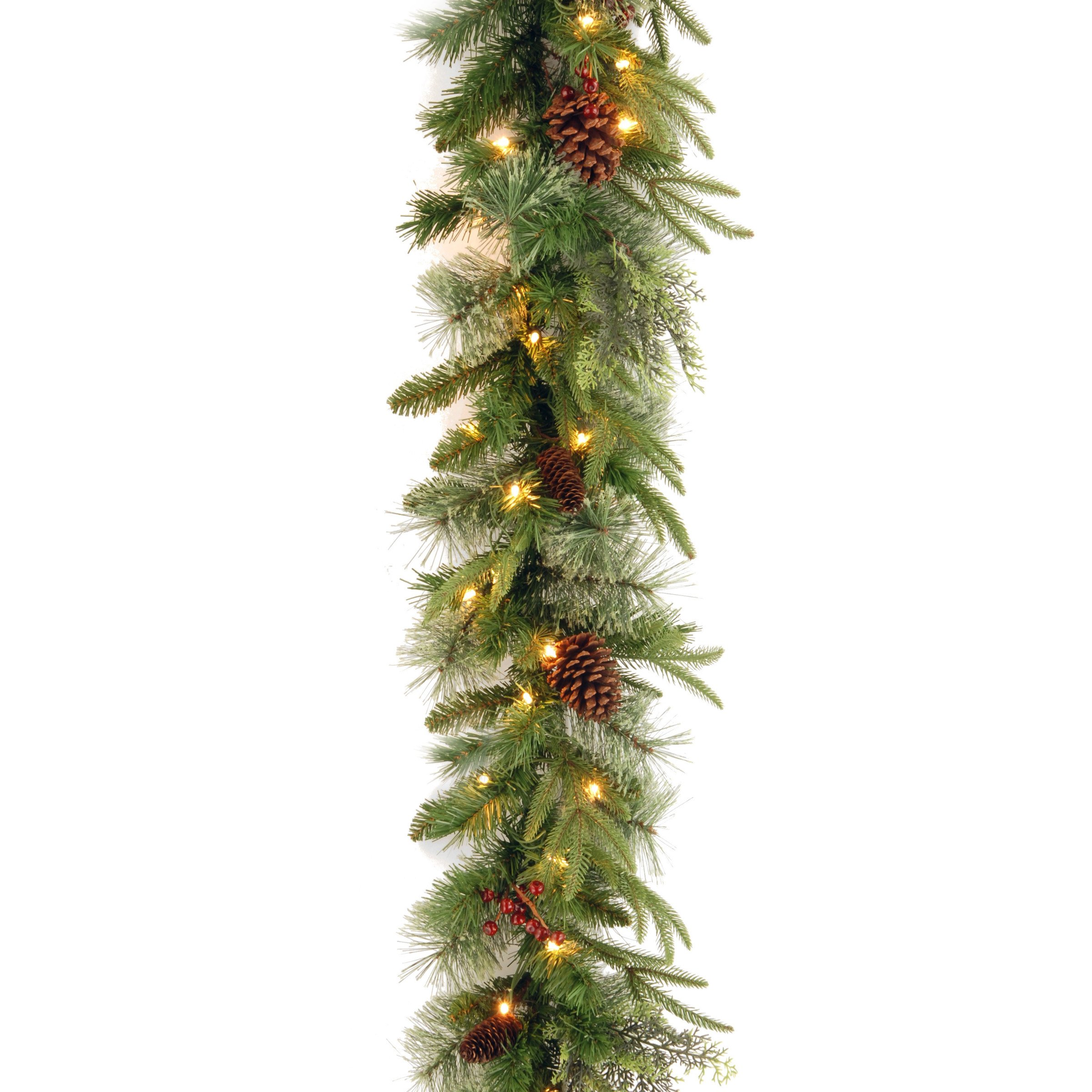 National Tree 9 Foot by 10 Inch ''Feel Real'' Colonial Garland with Red Berries and Cones (PECO4-306-9A-1)