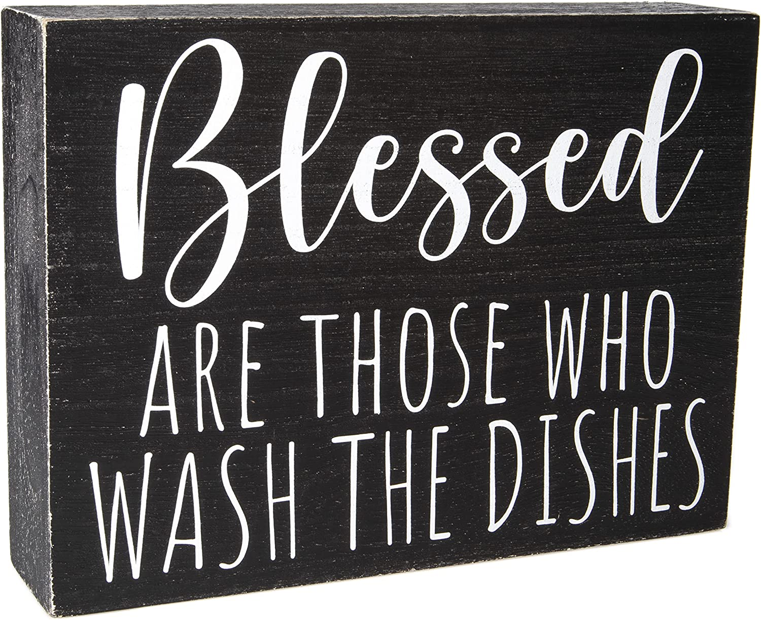 Modern Farmhouse Kitchen Decor for Counter - Black and White Kitchen Wall Decorations - Funny Kitchen Signs for Shelf Accents Above Cabinets - Rustic Decorative Tray Art