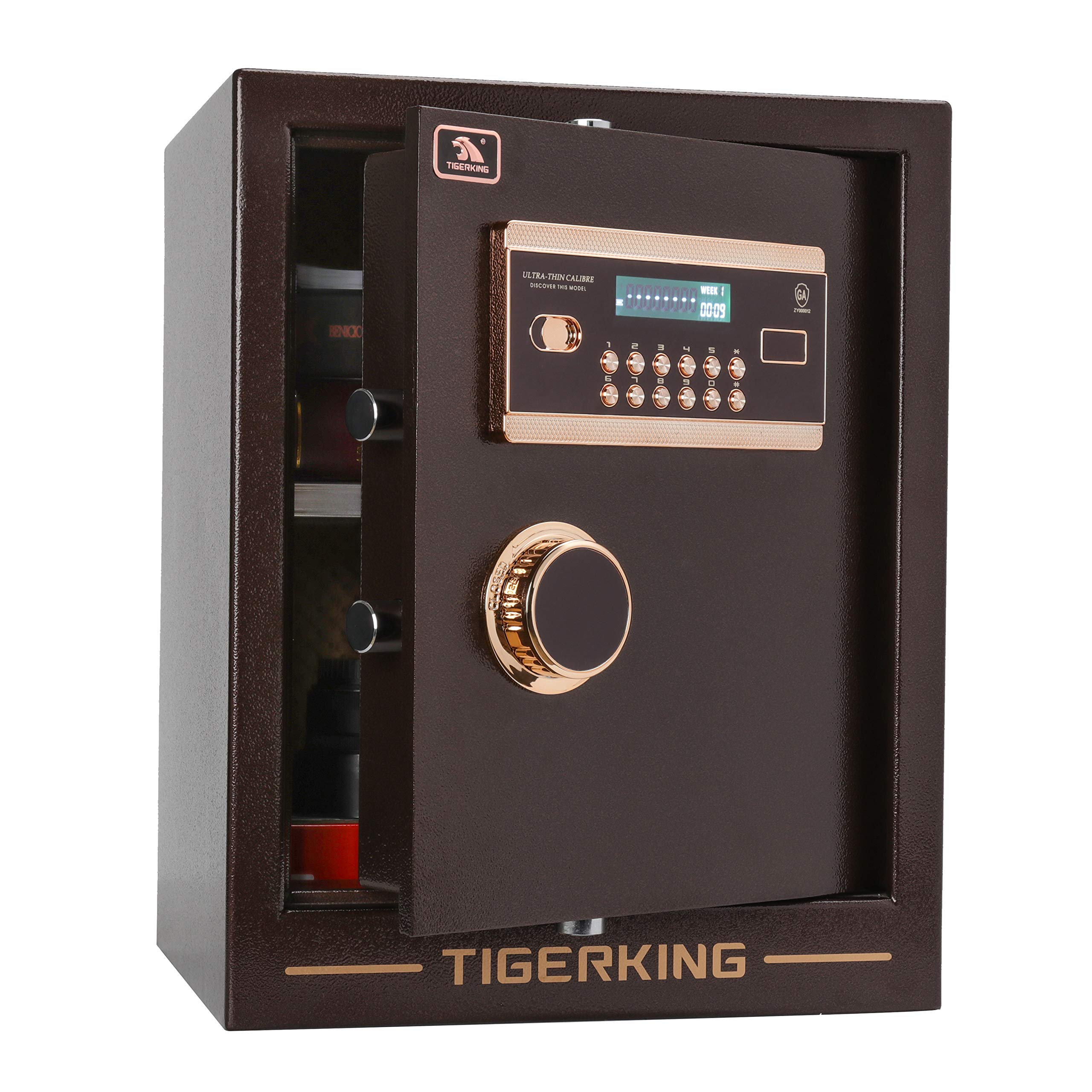 Digital Security Safe Box Solid Alloy Steel Construction with 4 Live-Locking Bolts Password Plus Key Setting for Home Office Hotel 1. 34 Cubic Feet By TigerKing
